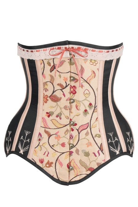 Historic brocade Underbust corset with Flossing