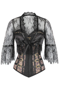 Steampunk Buckled Corset with separate Lace Bolero