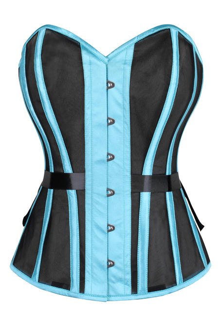 Turquoise Overbust Mesh Corset with Fan Lacing