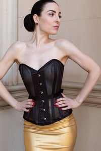 Black Overbust Mesh Corset with Fan Ribbon Lacing