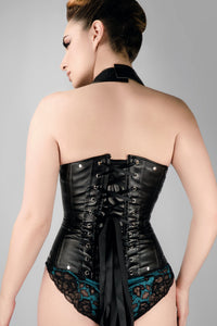 Black Leather Look PU Underbust With Halter Strap