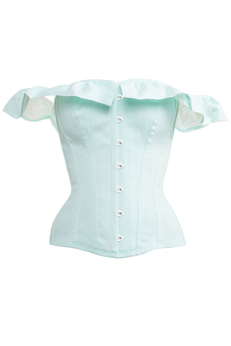 Beautiful Victoriana Mint Corset With Off Shoulder Elasticated Ruffle