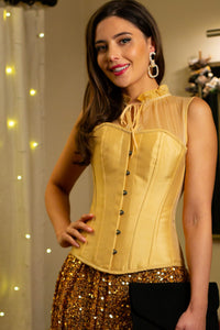 Champagne Overbust Sleeveless Corset Top