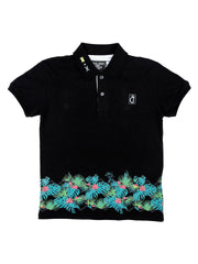 Black Printed Polo