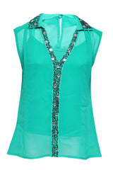 Golf Green Woven Top