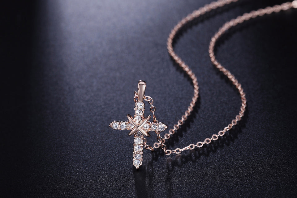 Silver/Rose Gold Cross Pendant Necklace