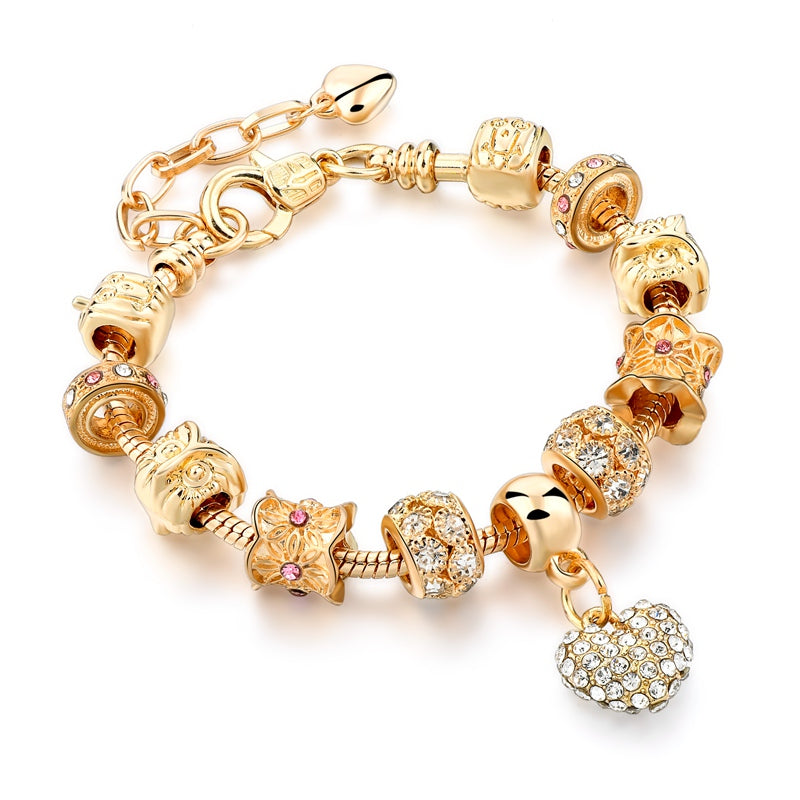 Luxury Crystal Heart Charm Bracelet