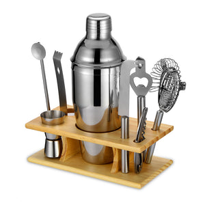 6 Pc Cocktail Mixer Kit with Wooden Storage Base