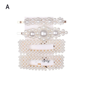 1 Set High Fashion Pearl Hair Clips