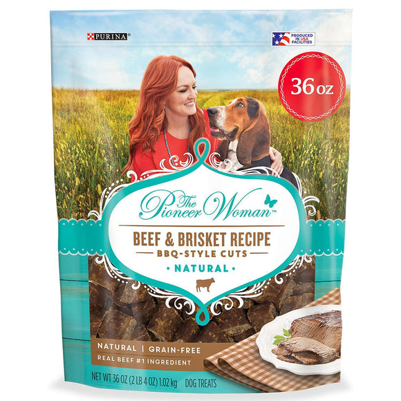 The Pioneer Woman Dog Treats - Natural Grain-Free Beef & Brisket Recipe BBQ Style Cuts (36 oz.) Pack of 2