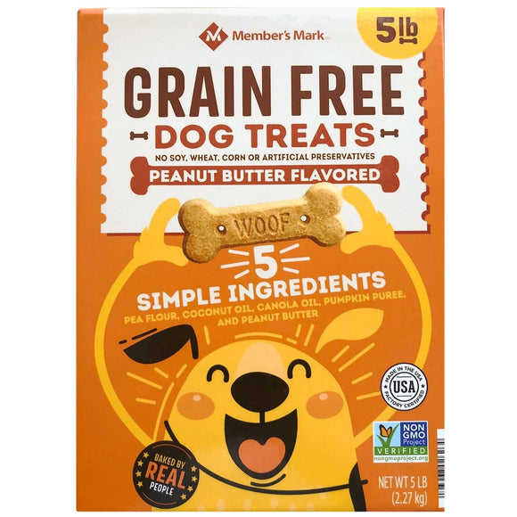 2 Pack Member's Mark Grain Free Dog Treats, Peanut Butter Flavored (5 lb. Each)