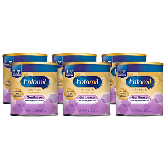 Enfamil Gentlease Infant Formula Milk-Based Powder with Iron (12.4 oz., 6 pk.)