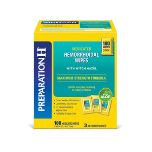 Preparation H Flushable Medicated Hemorrhoidal Wipes Pouch, Maximum Strength Relief With Witch Hazel And Aloe (180 ct.)