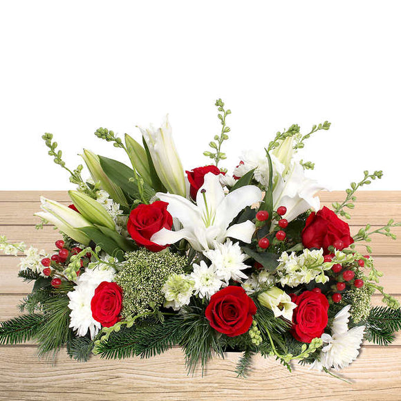 Red & White Holiday Floral Centerpiece