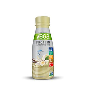 Vega Protein Nutrition Shake Vanilla 11 Fluid Ounce (Pack of 12) - Ready to Drink, Plant Based Vegan Protein