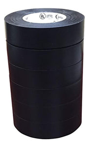 Cambridge Black Electrical Tape 3/4 Inch by 66 Feet per Roll; 6 Roll Multi Pack for Value