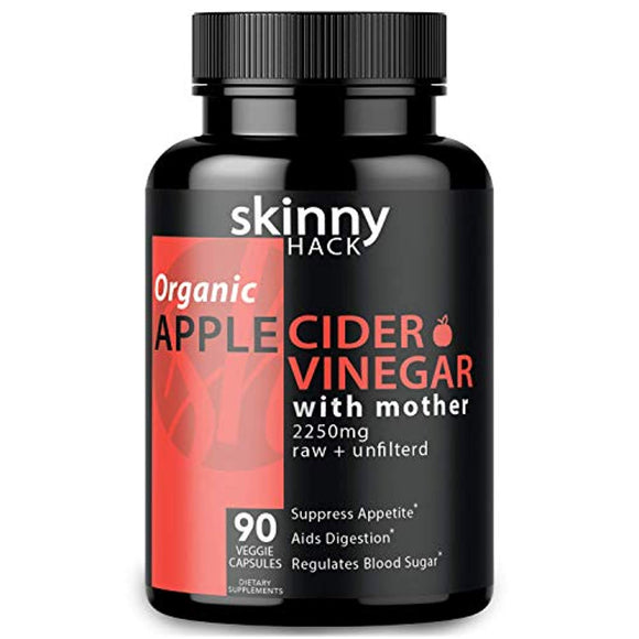 Organic Apple Cider Vinegar Capsules with Mother - Max Dose (2200 mg) Raw Unfiltered ACV Pills