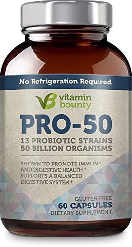 Vitamin Bounty Pro 50 Probiotic with Prebiotics - 13 Strains, 50 Billion CFU, for Gut and Digestive Health