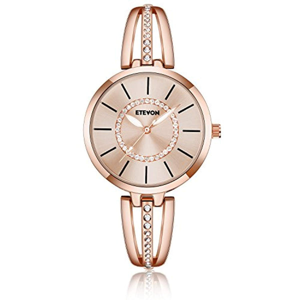 Women's 'Crystal Bridge' Quartz Analog Watch with Luminous Pointers and Rose Gold Bracelet Waterproof, Fashion Dress Wrist Watches for Women