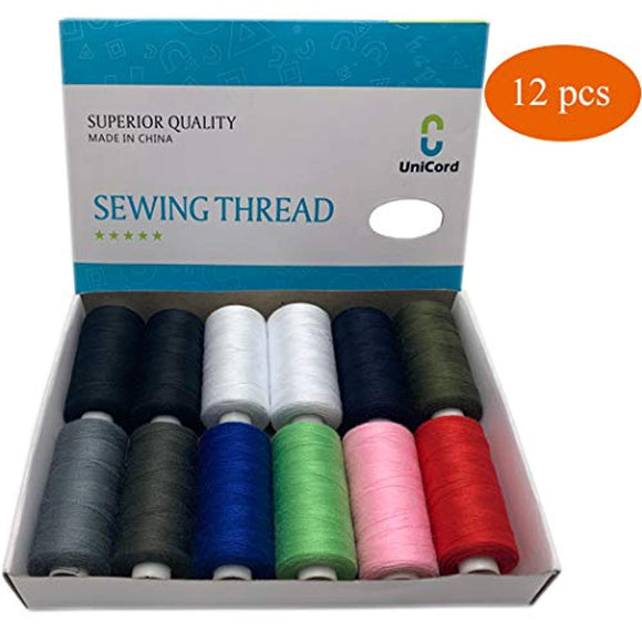 12 Pcs Polyester Sewing Thread Assortment by Box, Total 6000 Yards, 500 Yards Per Cone, 10 Colors, Ideal for Hand,Sewing Machine and All-Purpose Sewing.
