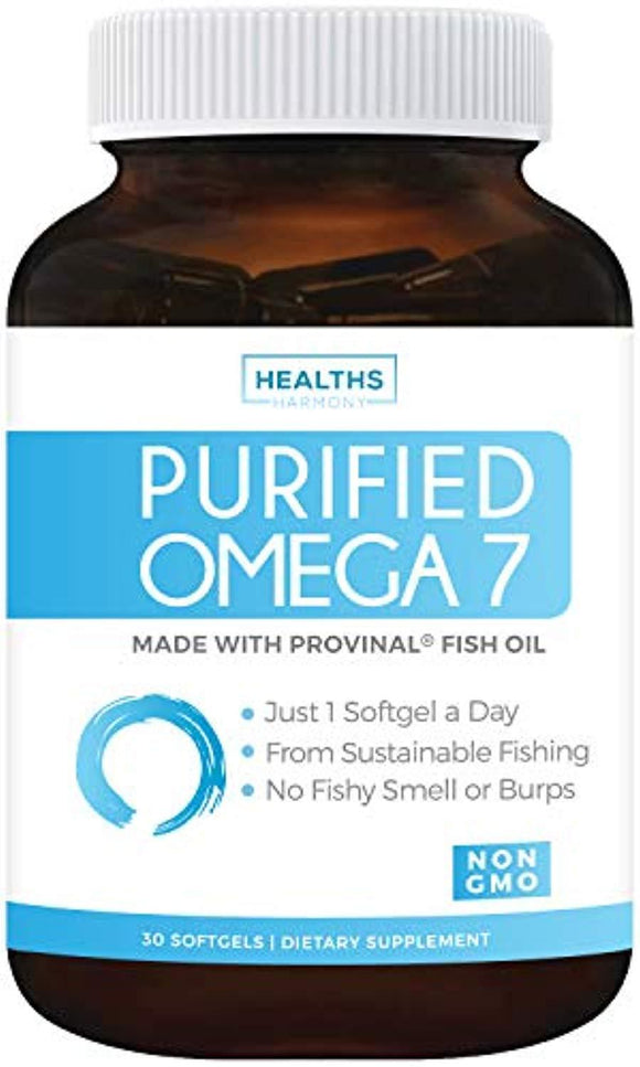 Purified Omega 7 Oil - Provinal Omega 7 (Non-GMO) All The Palmitoleic Acid EE Your Body Needs – Made from Peruvian Anchovy Fish - 30 Softgels