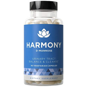 Harmony D-Mannose - Urinary Tract UT Cleanse & Bladder Health - Hibiscus Pills - 60 Vegetarian Soft Capsules