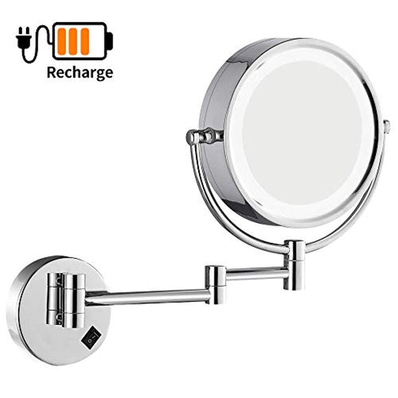 DOWRY Wall Mounted LED Lighted Vanity Makeup Mirror with 10x Magnification,Double-Sided