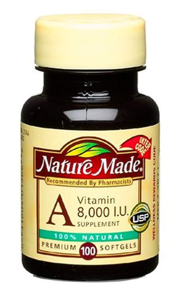 Nature Made Vitamin A, 8000 I.U., 100-Count Softgels (Pack of 3)