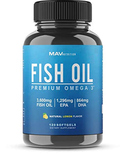 Premium Fish Oil Omega 3 - Max Potency - 3,600mg + 1,296mg Epa + 864mg DHA
