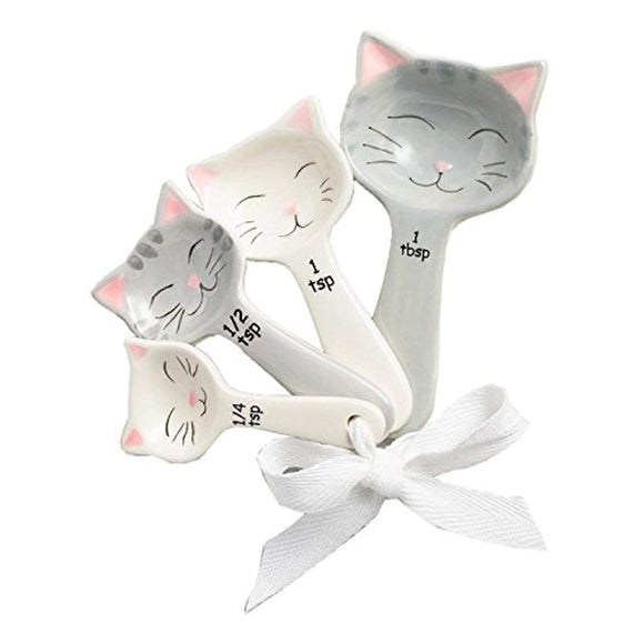 World Market Cat Shaped Ceramic Measuring Spoons - Perfect for Any Cat Lover