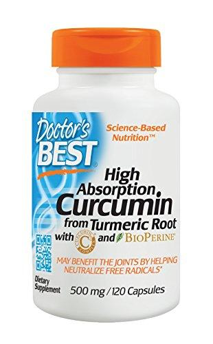 Doctor's Best Curcumin From Turmeric Root, Soy Free, Joint support, 500mg Caps with C3 Complex & BioPerine, 120 Capsules