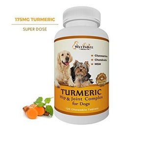 Turmeric Hip & Joint Complex for Dogs with Glucosamine Chondroitin MSM - Supplement for Joint Health - 120 Chewable Tablets