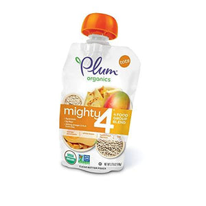 Plum Organics Mighty 4, Organic Toddler Food, Mango, Pineapple, White Bean, Butternut Squash & Oat, 3.75 ounce pouch (Pack of 12)
