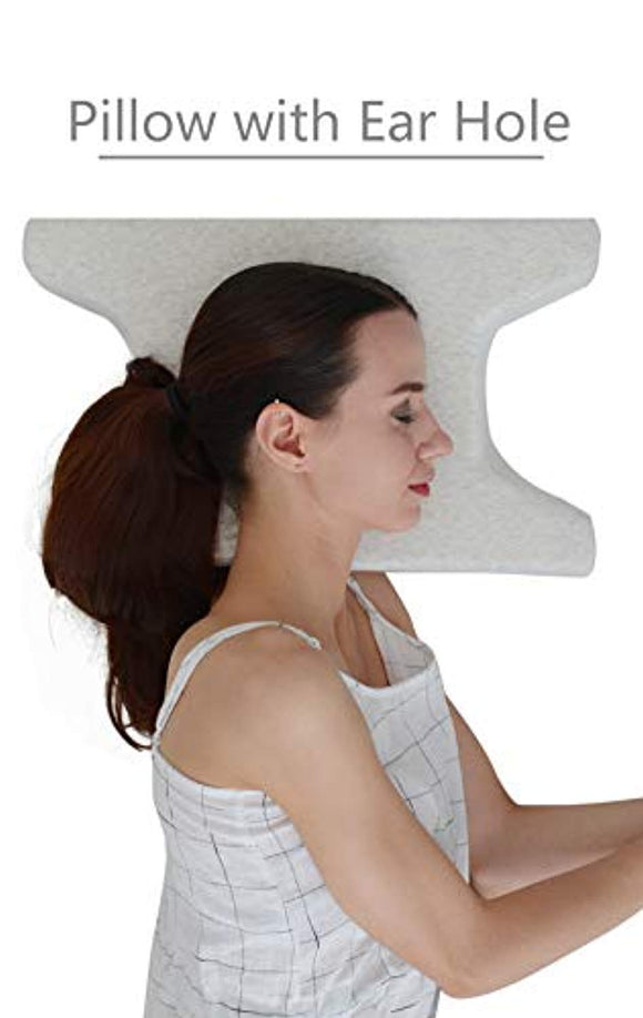 LightEase Contour Side Sleeper Pillow w/Ear Hole for Ear Pain & CNH