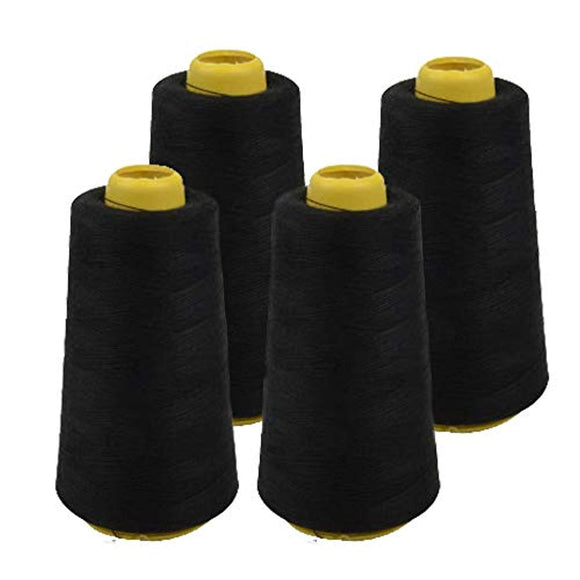 4 Pack of 6000 (24,000 Total) Yard Spools Black Sewing Thread All Purpose 100% Spun Polyester Overlock Cone