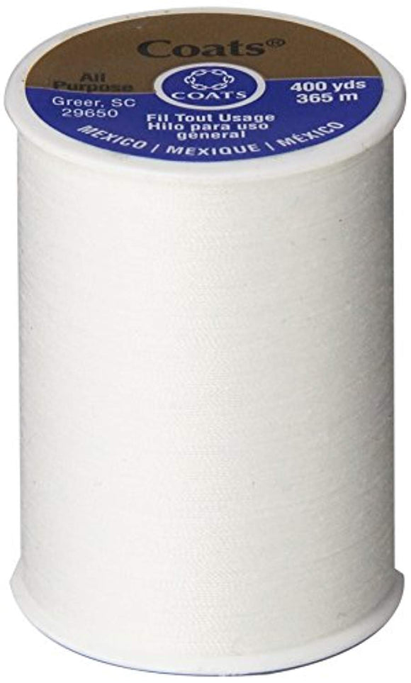 Coats & Clark All Purpose Thread 400 Yards White (ONE spool of yarn)