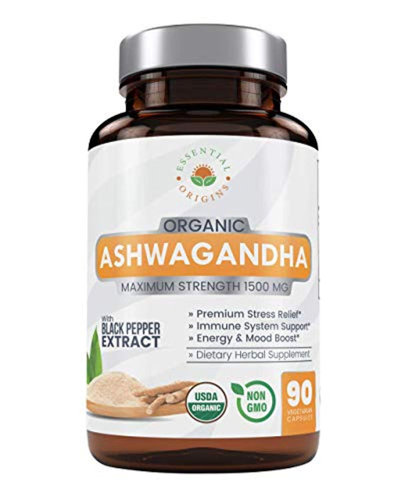 Organic Ashwagandha; 1500mg Pure Root Powder Extract Herbal Supplement for Stress & Anxiety Relief