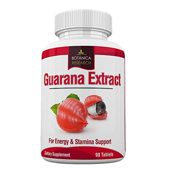 Guarana Extract: All Natural Herbal Energy Supplement for Women, Men: 200mg Caffeine - 90 Tablet Capsule Pills
