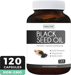 Black Seed Oil - 120 Softgel Capsules (Non-GMO & Vegetarian) Premium Cold-Pressed Nigella Sativa Producing Pure Black Cumin Seed Oil