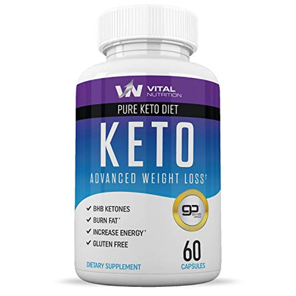 Pure Keto Diet Pills - Ketosis Supplement to Burn Fat Fast - Ketogenic Carb Blocker - Best Keto Diet Pills for Women and Men - 60 Capsules