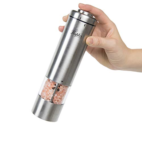 Flafster Kitchen Electric Pepper Grinder - Battery Powered Stainless Steel Salt or Pepper Mill - Tall Power Shaker - Pack of 1