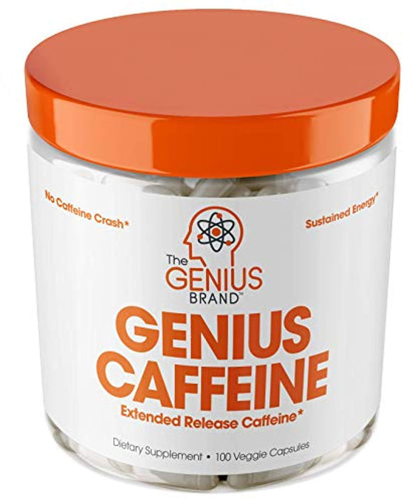 GENIUS CAFFEINE – Extended Release Microencapsulated Caffeine Pills, All Natural Non-Crash Sustained Energy  100 Capsules