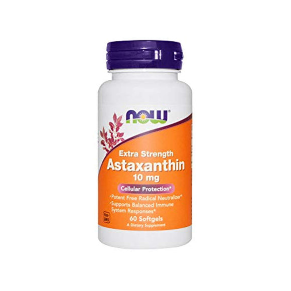 NOW Supplements, Astaxanthin 10mg, Extra Strength,derived from Non-GMO Haematococcus Pluvialis Microalgae