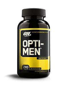 OPTIMUM NUTRITION Opti-Men, Mens Daily Multivitamin Supplement with Vitamins C, D, E, B12, 240 Count