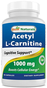 Best Naturals Acetyl L-Carnitine 1000mg Capsule, 60 Count