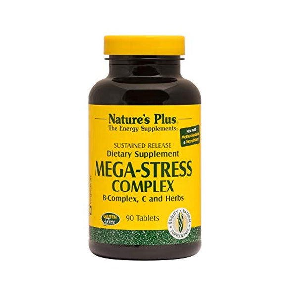 Natures Plus Mega-Stress Complex - 90 Vegetarian Tablets, Sustained Release - B Complex, Vitamin C Stress Relief Supplement,