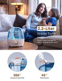 Homasy VicTsing 2.2L Cool Mist Humidifiers, Quiet Ultrasonic Humidifiers for Bedroom Baby, Easy to Clean Baby Humidifier