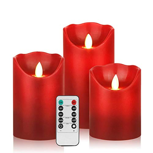 HEIOKEY LED Flameless Candle Set of 3 (4