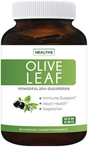 Best Olive Leaf Extract (Non-GMO) Super Strength: 20% Oleuropein - 750mg - Vegetarian - 60 Capsules