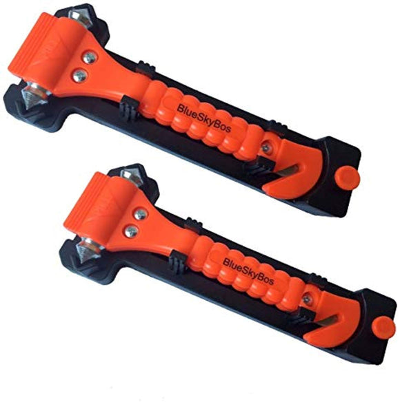 BlueSkyBos Value 2 Pack - Emergency Escape Tool Auto Car Window Glass Hammer Breaker and Seat Belt Cutter